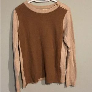 J.Crew Tan/Brown Sweater with Gold Zipper (Medium)